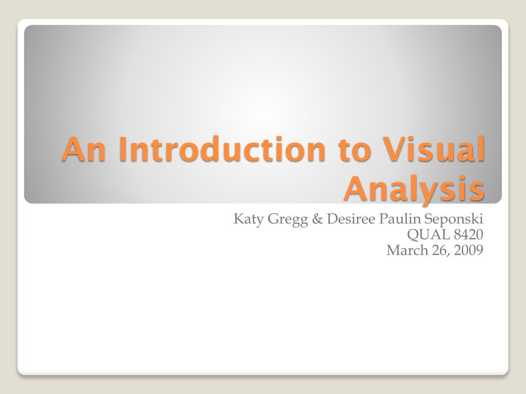 an introduction to visual analysis l.