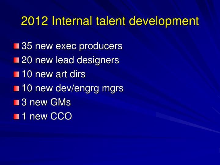 2012 Internal talent development