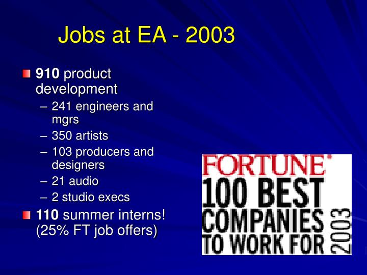 Jobs at EA - 2003