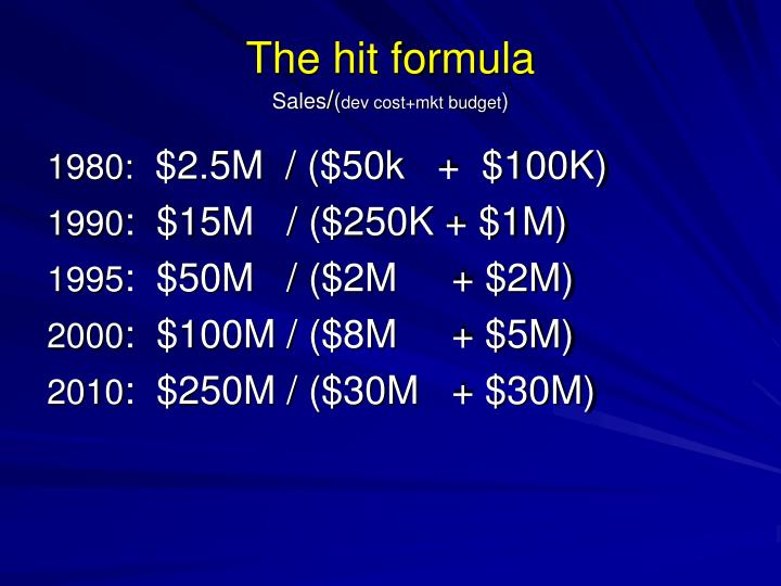 The hit formula