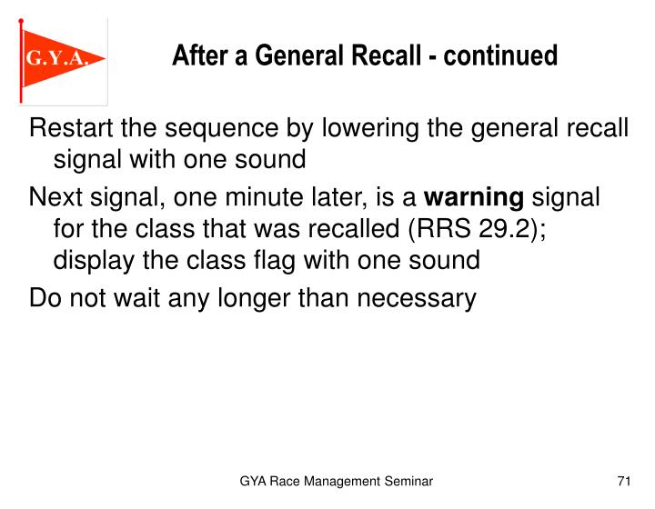 After a General Recall - continued