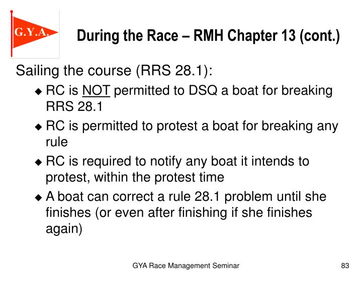 During the Race – RMH Chapter 13 (cont.)