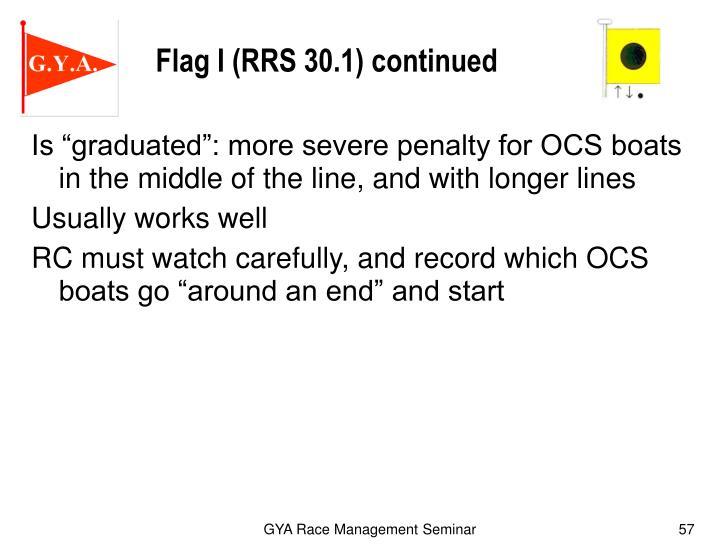 Flag I (RRS 30.1) continued