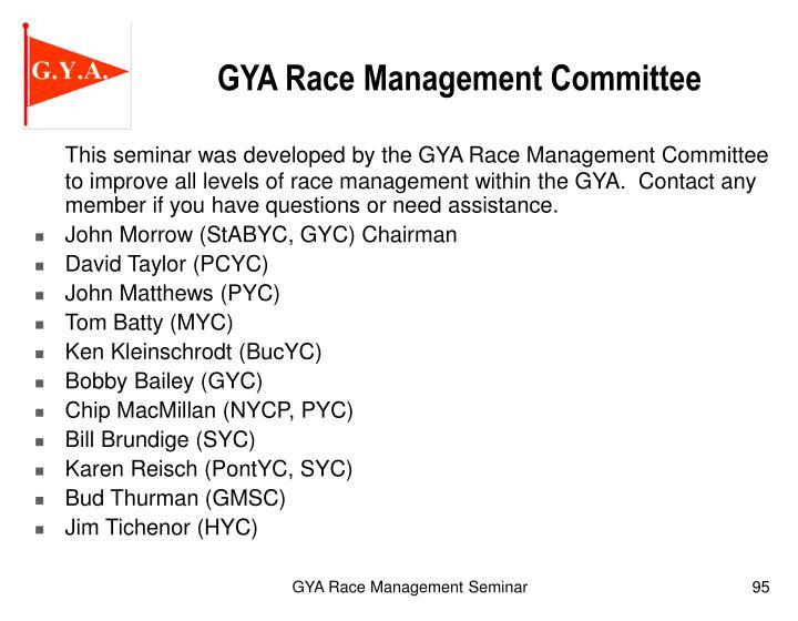 GYA Race Management Committee