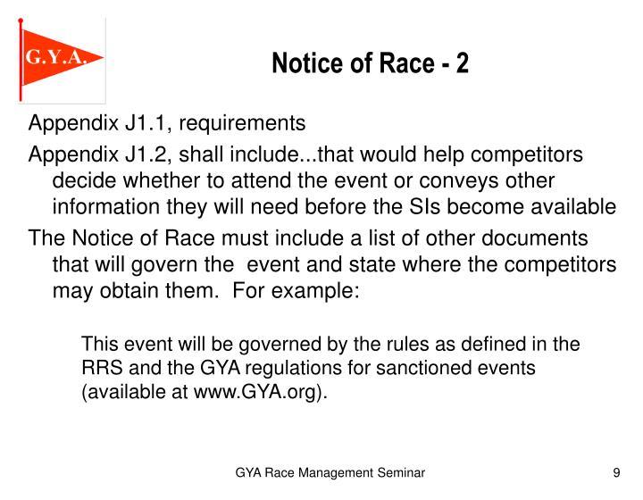Notice of Race - 2