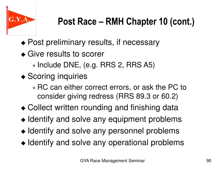 Post Race – RMH Chapter 10 (cont.)