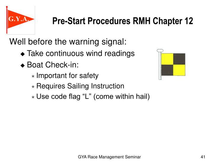 Pre-Start Procedures RMH Chapter 12