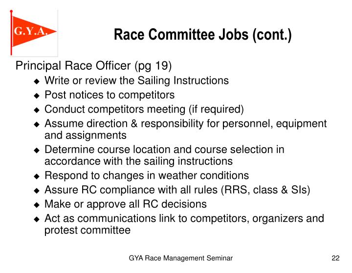 Principal Race Officer (pg 19)