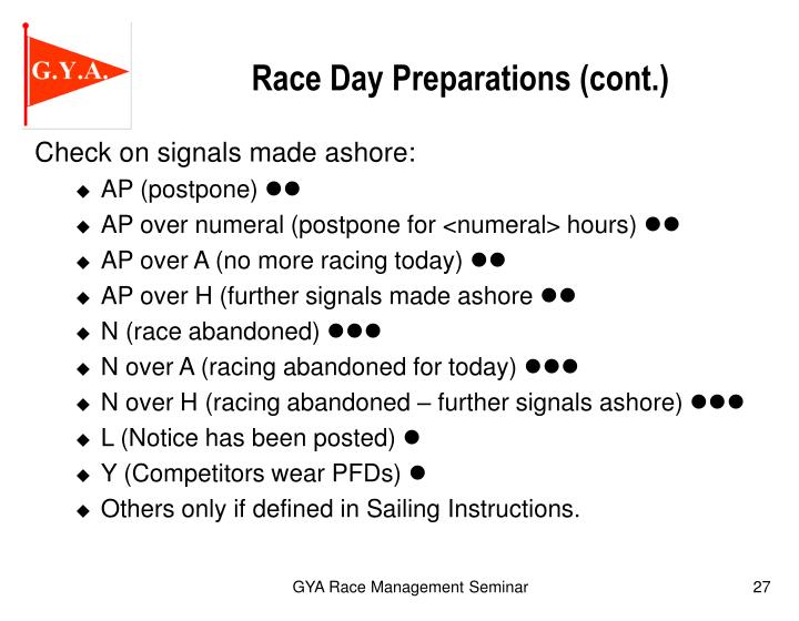 Race Day Preparations (cont.)