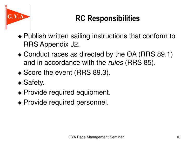 RC Responsibilities