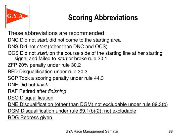 Scoring Abbreviations