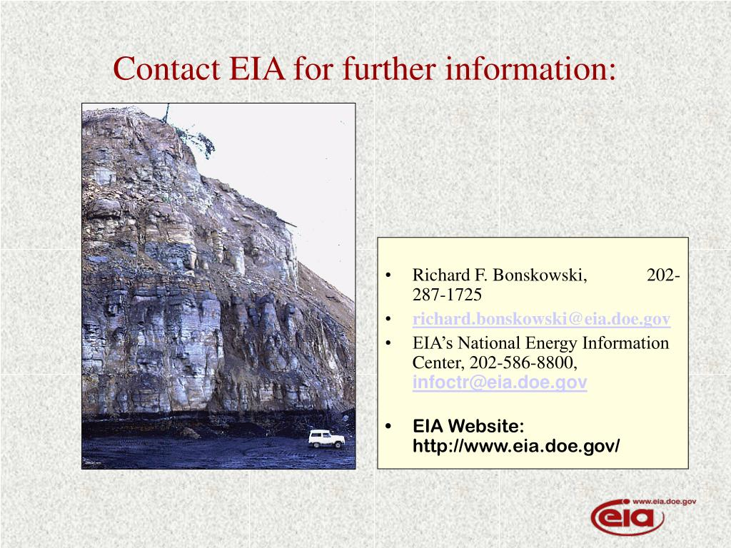 Contact EIA for further information: