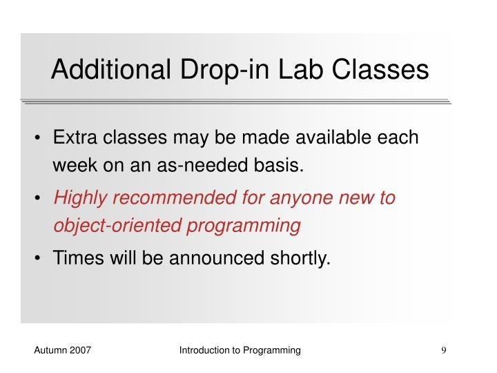 Additional Drop-in Lab Classes