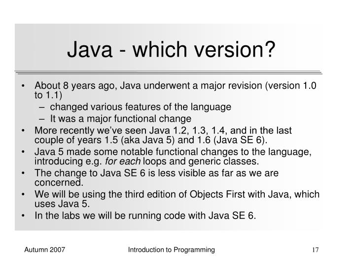 Java - which version?