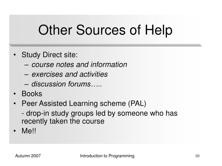 Other Sources of Help