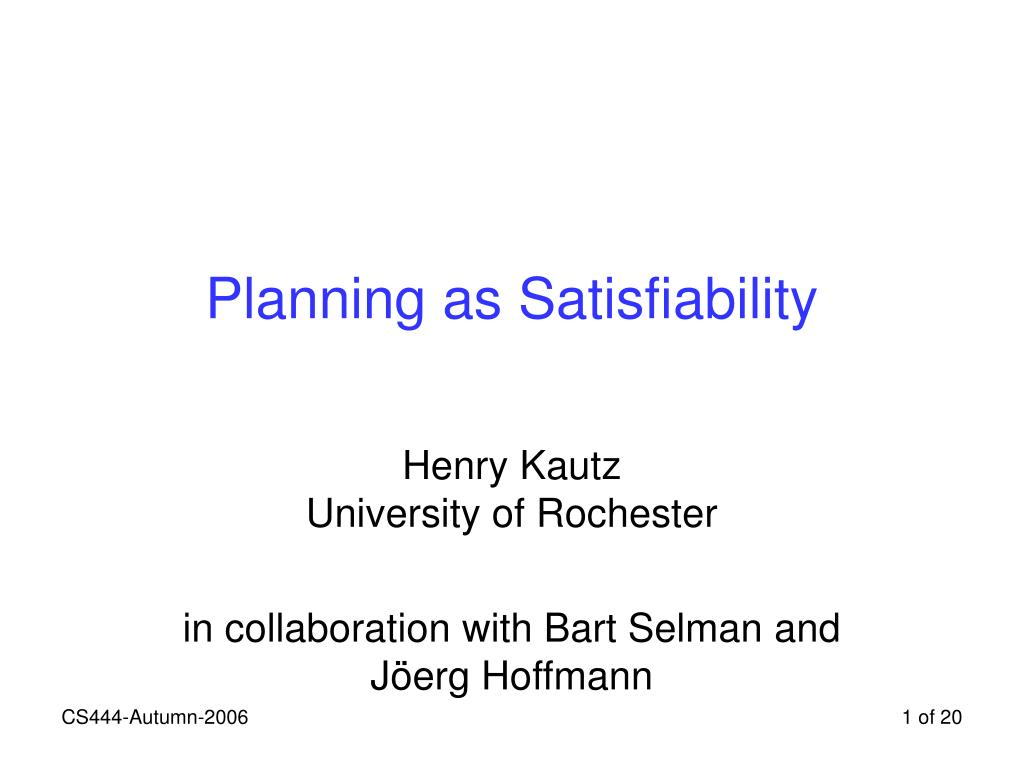planning as satisfiability