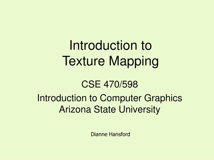 introduction to texture mapping n.