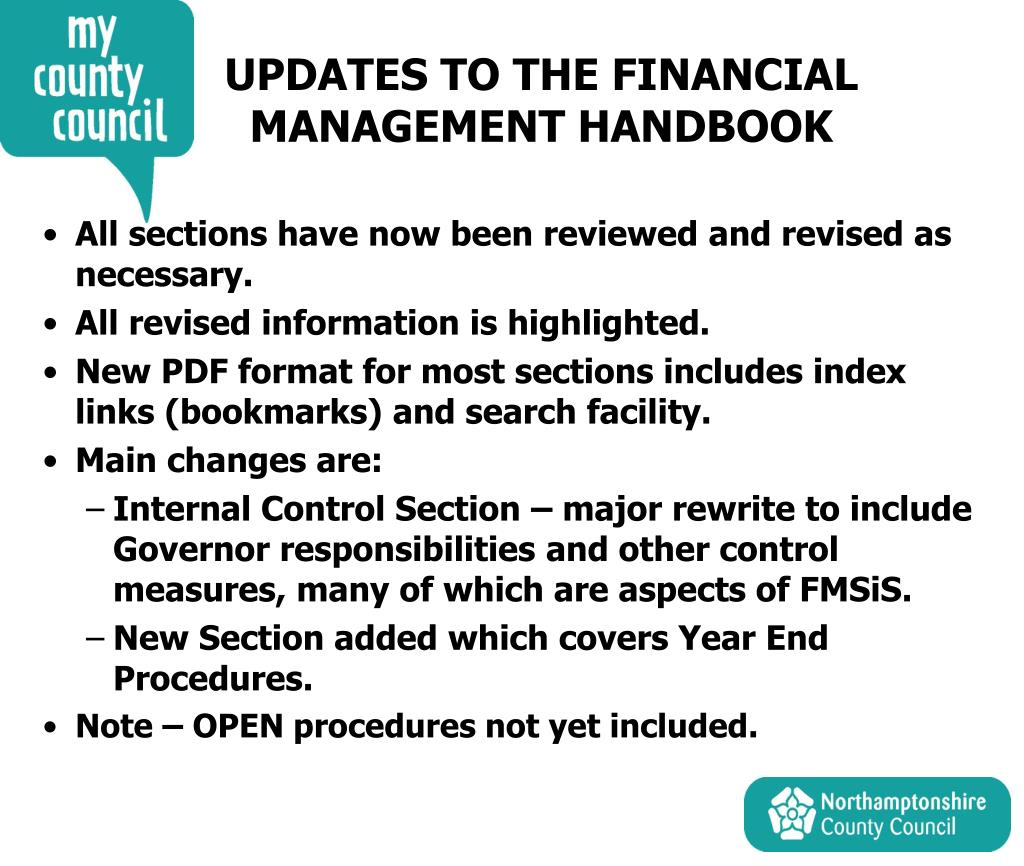 UPDATES TO THE FINANCIAL MANAGEMENT HANDBOOK