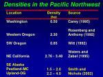 densities in the pacific northwest