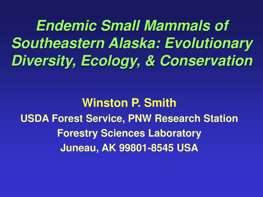 endemic small mammals of southeastern alaska evolutionary diversity ecology conservation l.