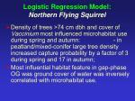 logistic regression model northern flying squirrel
