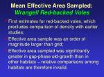 mean effective area sampled wrangell red backed voles