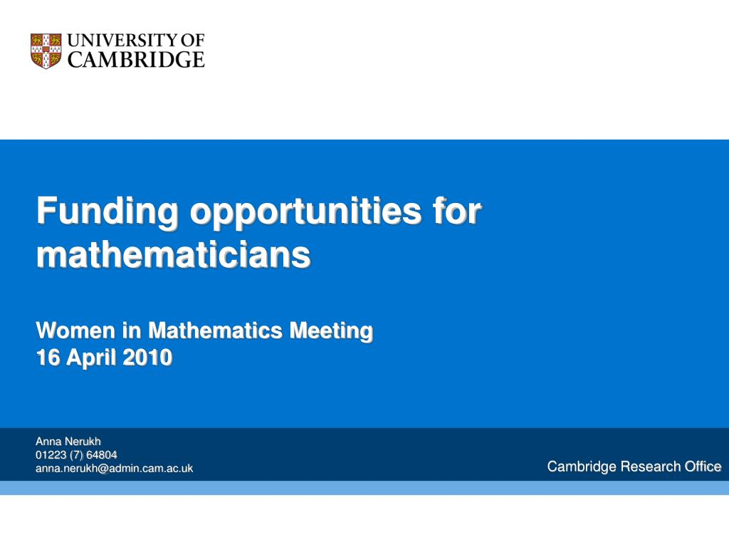 funding opportunities for mathematicians women in mathematics meeting 16 april 2010 l.
