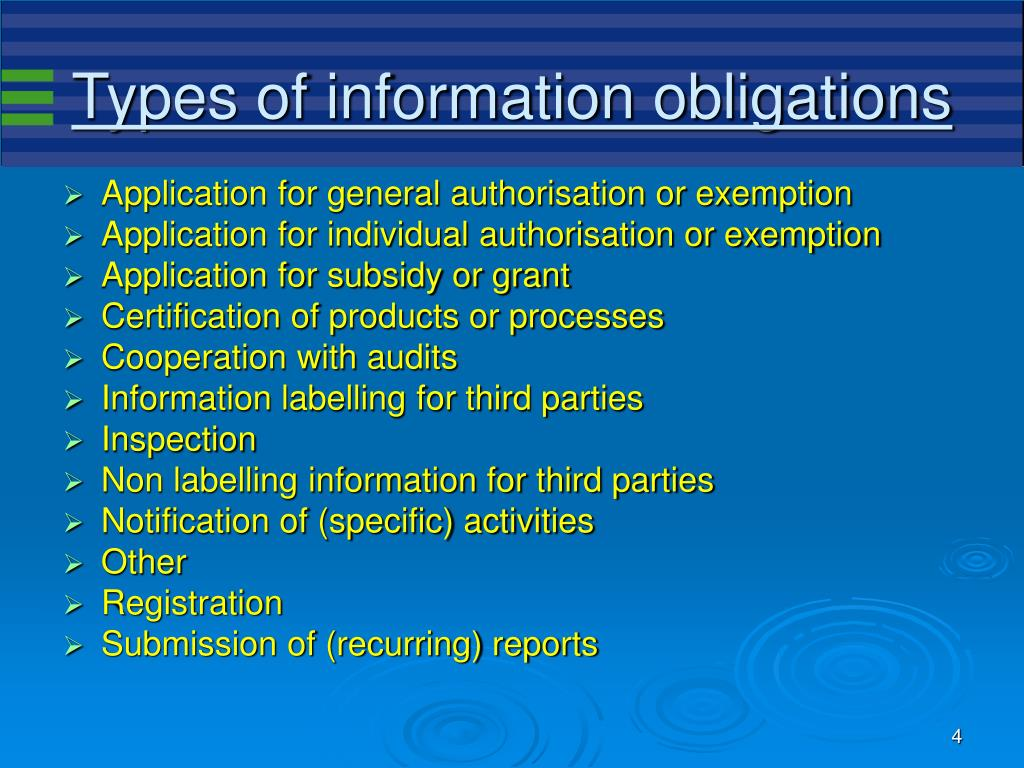 Types of information obligations