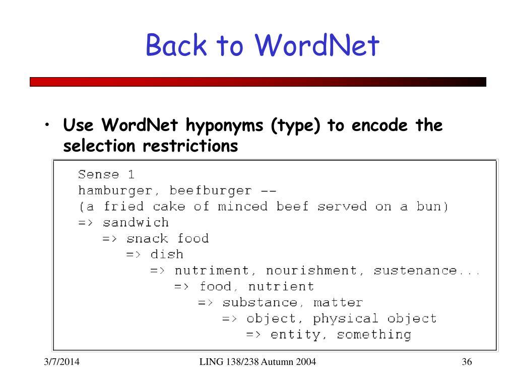 Back to WordNet
