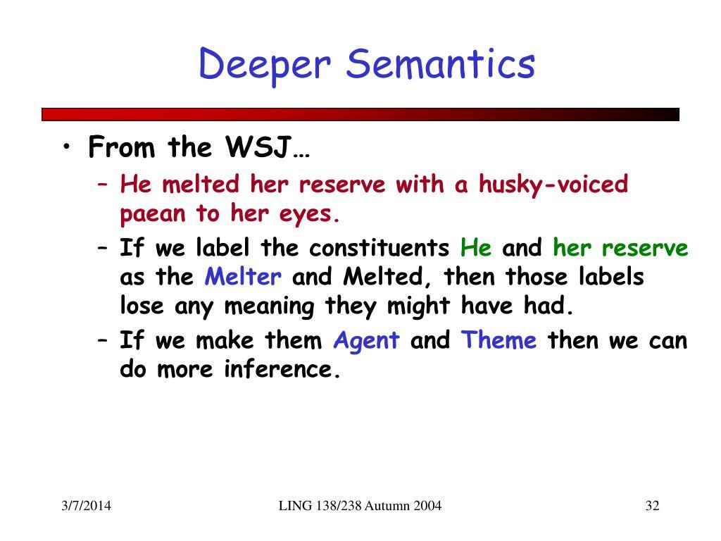 Deeper Semantics