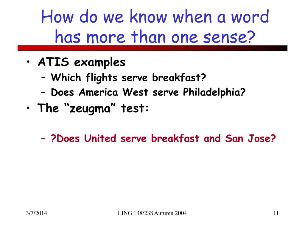 How do we know when a word has more than one sense?