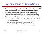 word similarity computation