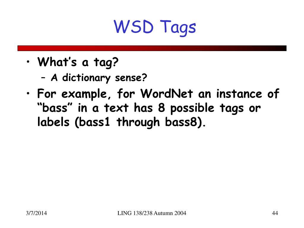 WSD Tags