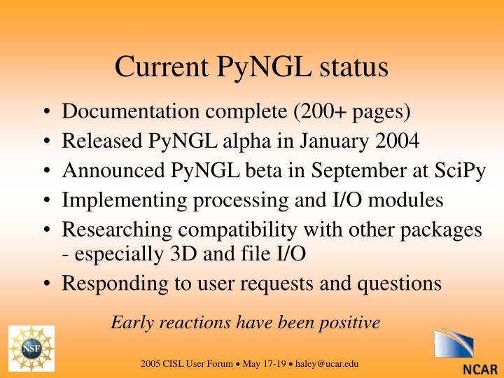 Current PyNGL status