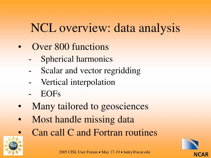 NCL overview: data analysis