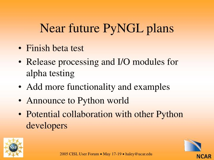 Near future PyNGL plans