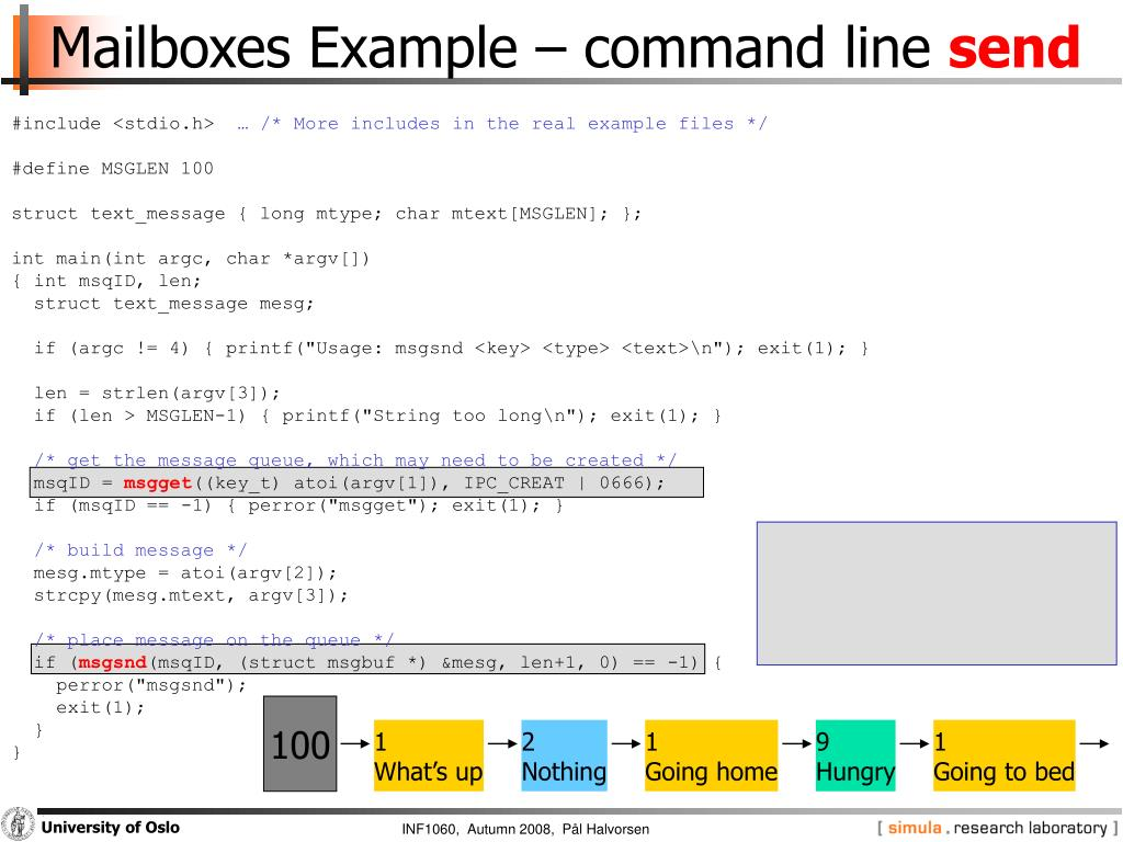 Mailboxes Example – command line