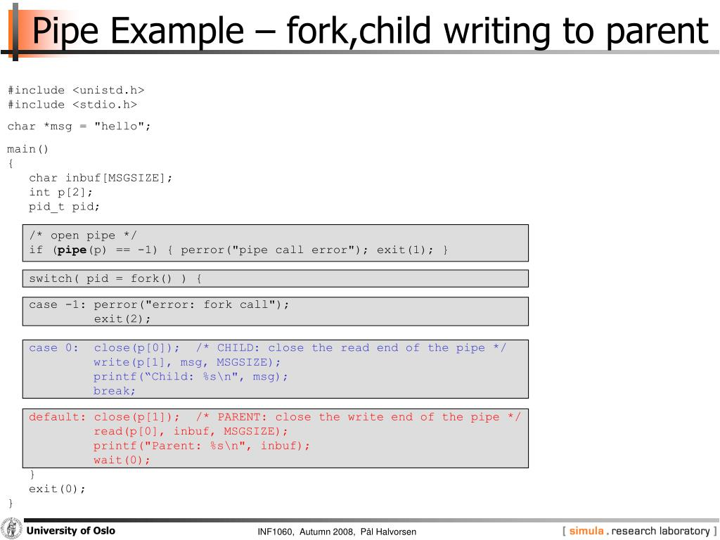 Pipe Example – fork,child writing to parent