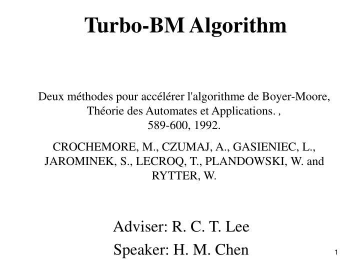 turbo bm algorithm n.