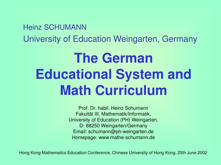 the german educational system and math curriculum n.