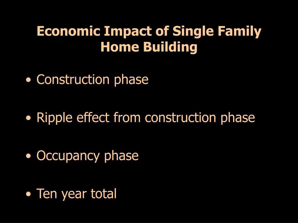 Economic Impact of Single Family Home Building