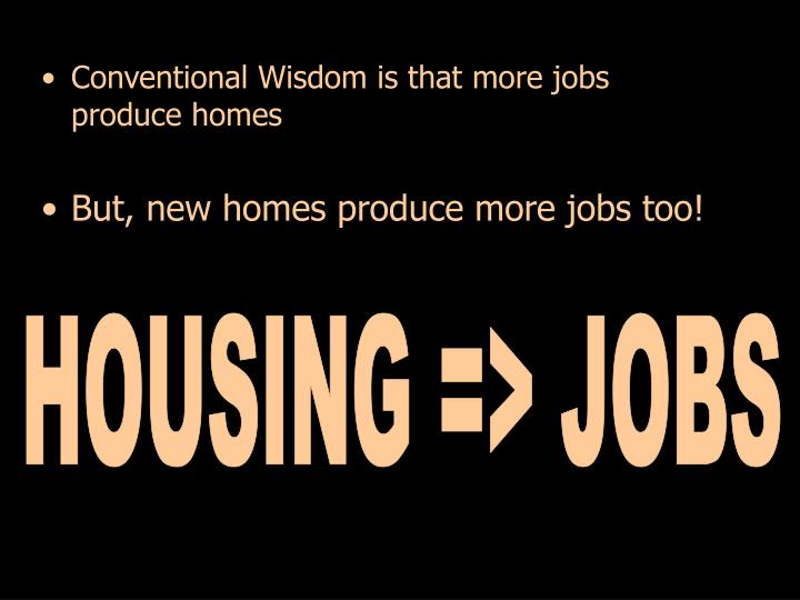 Conventional Wisdom is that more jobs produce homes