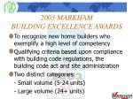 2003 markham building excellence awards
