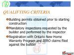 qualifying criteria