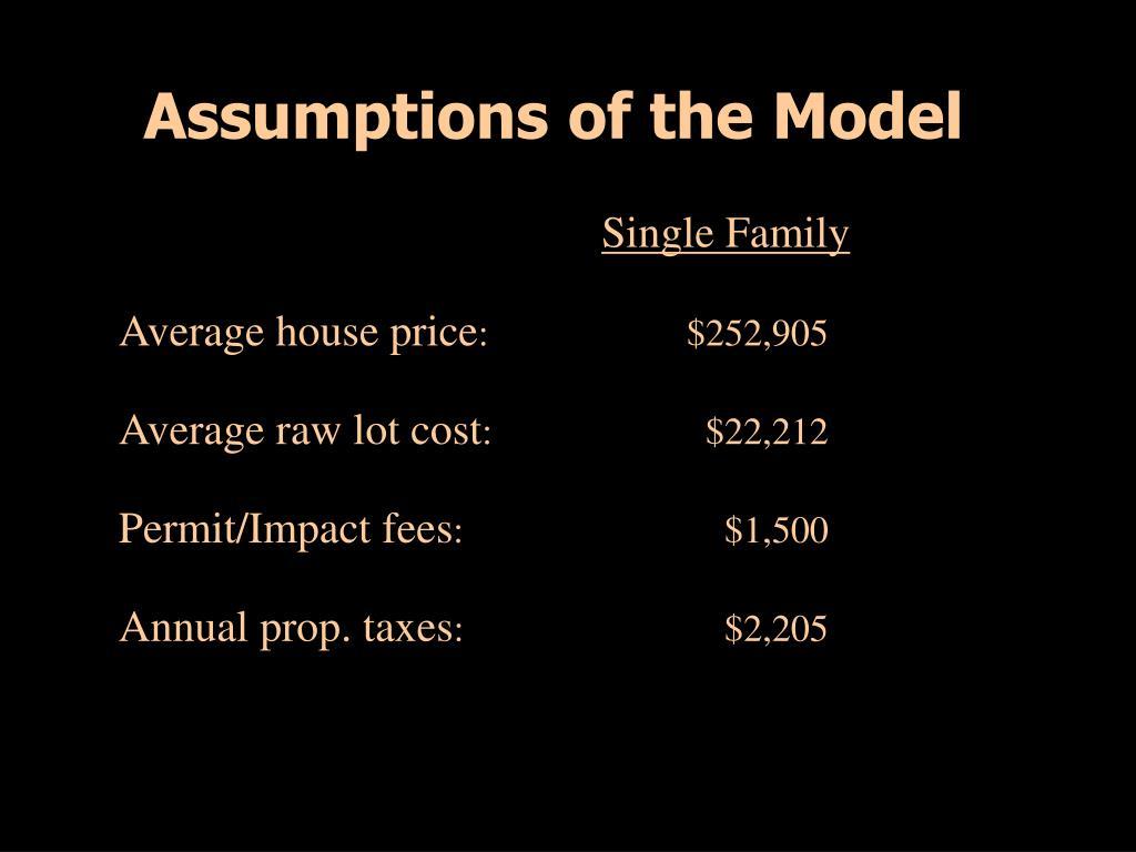 Assumptions of the Model