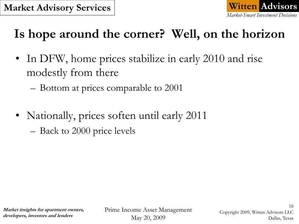 Is hope around the corner?  Well, on the horizon