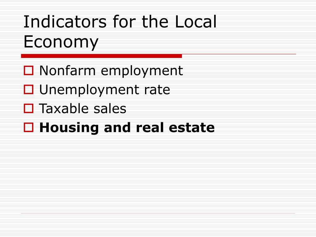 Indicators for the Local Economy