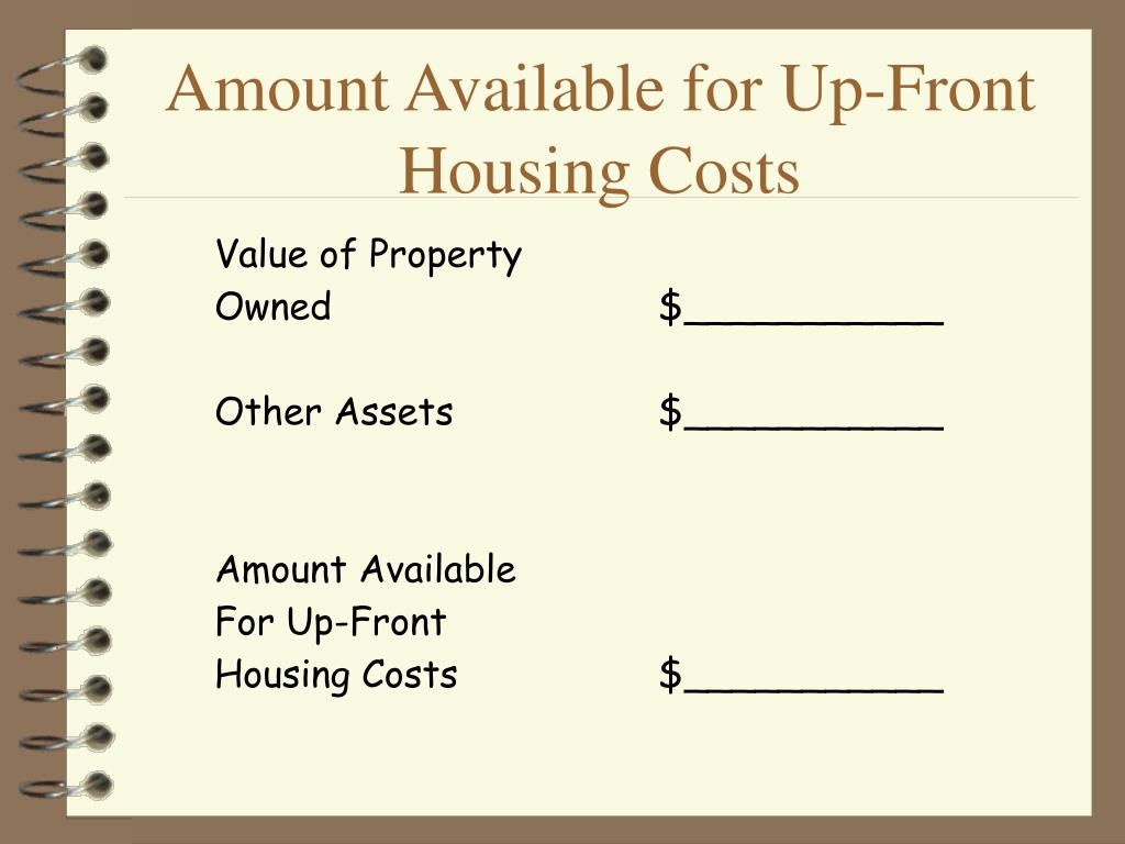 Amount Available for Up-Front Housing Costs