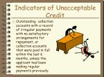 indicators of unacceptable credit28