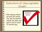 indicators of unacceptable credit29